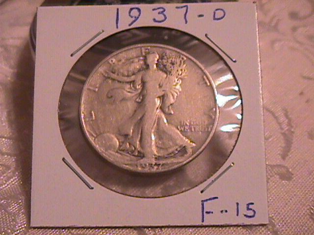 LIBERTY WALKING  HALF DOLLAR  DATED -1937-D GRADED  FINE -15   Condition