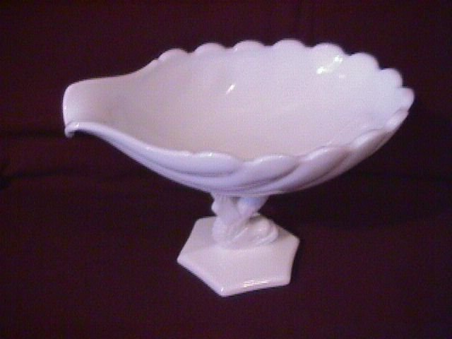 Milkglass Shell Form Dolphin Stem Compote
