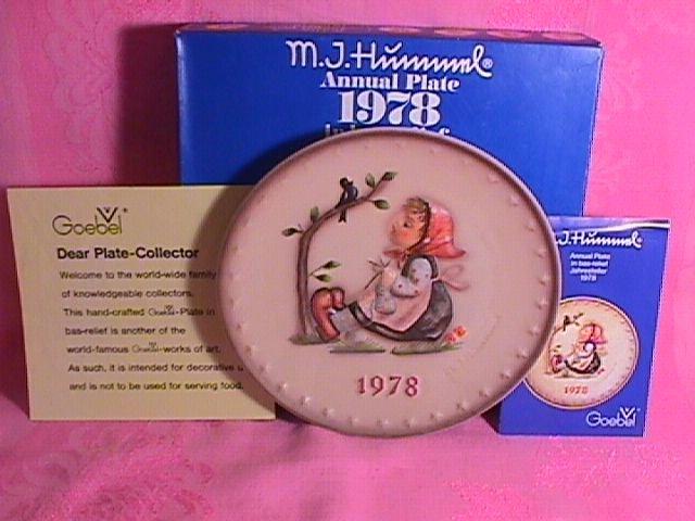 Hummel Annual Christmas Plate-1978 Mint W/Box