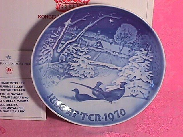 Bing & Grondahl Christmas Plate 1970-Pheasants In Snow
