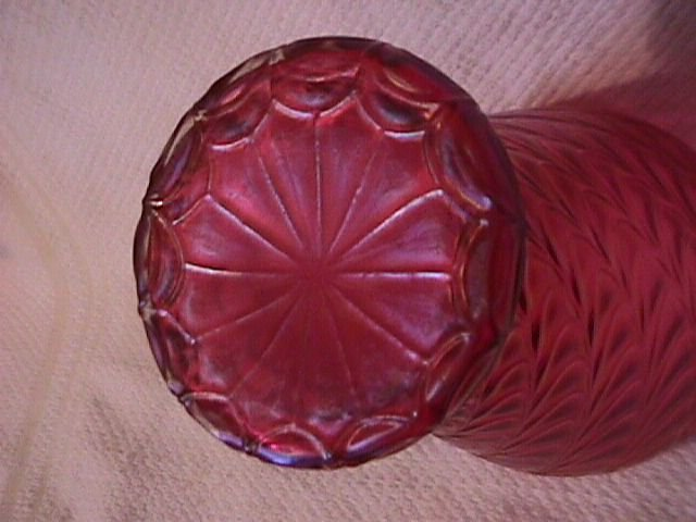 Loetz=Tiffany Type= Cranberry Swirled Drape Art Glass Vase
