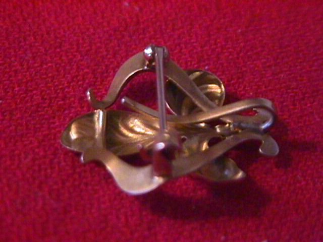 10K Solid Gold-Art Noveau- French Fleur De Lis Watch Pin