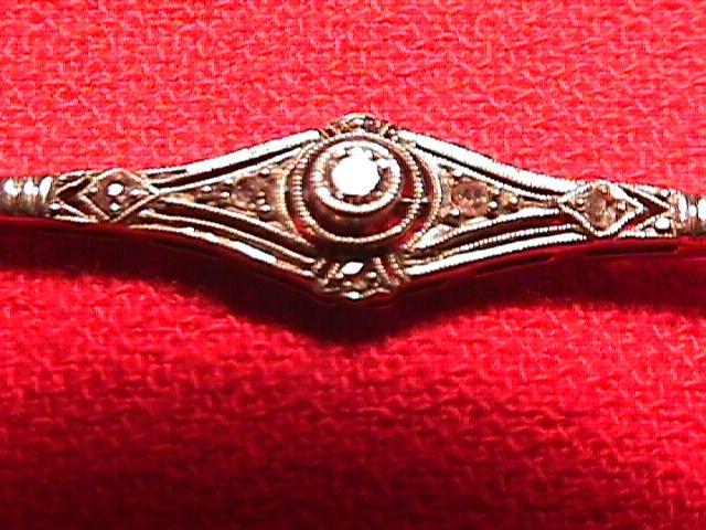 Victorian Bar Pin Platinum Topped Gold & Diamonds