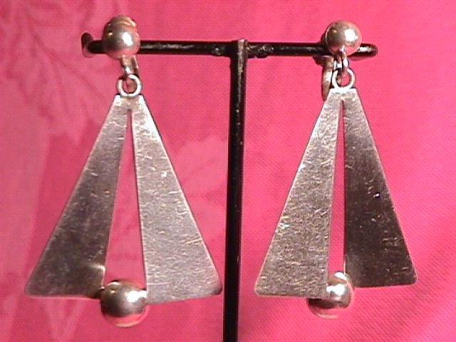 Mexico Sterling (Modernist) Screw-Back Earrings