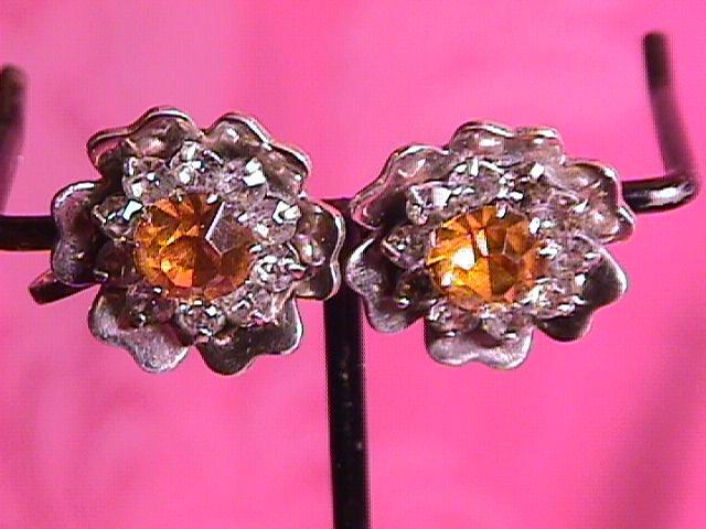 Sterling & Rhinestone Screw-Back Earrings