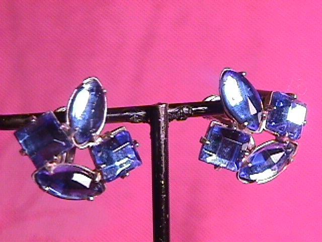 Sterling & Blue Rhinestone Screw-Back  Earrings