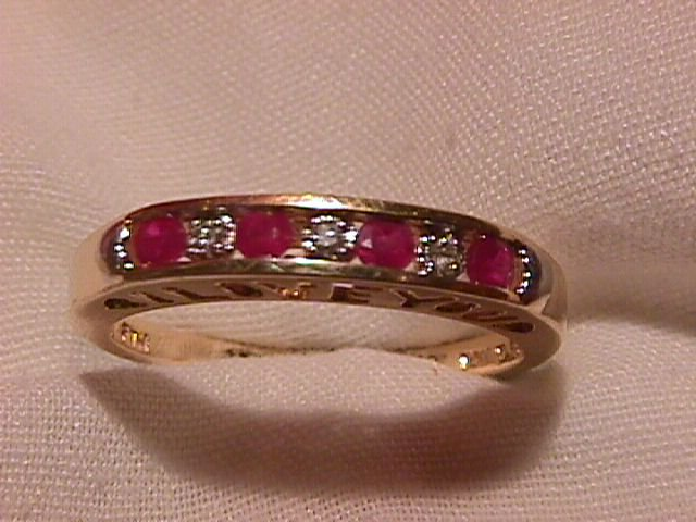 10K Solid Gold Ruby & Diamond Ring
