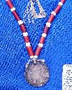 Early 19th Century Chumash Native American Beaded Necklace w/ Silver Piece 1807