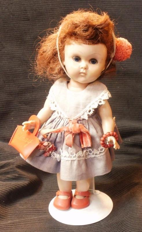 Vintage Vogue Ginny Doll Bent Knee Walker Tagged Dress, Ginny Purse,  Sleepy Blue Eyes, Her dress is faded.