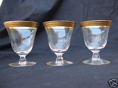 (13) Tiffin Stems Glasses Gold Trim