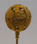 Victorian Hatpin Hat Pin w/Gold Filigree Leaves