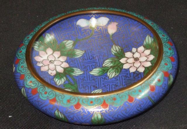 Antique Vintage Blue Cloisonne Bowl w/Flowers China