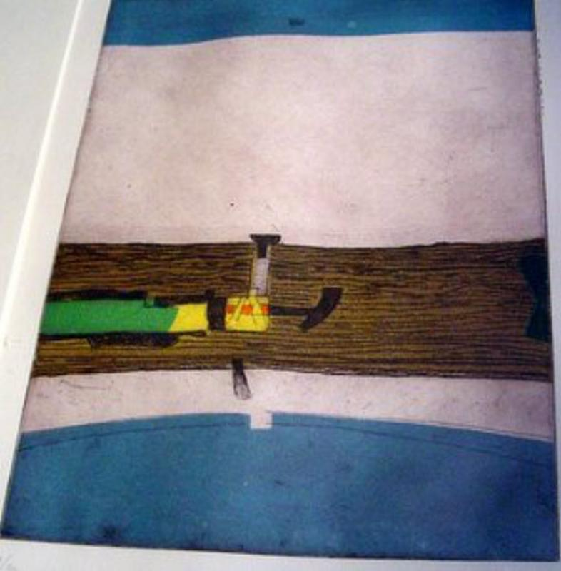 Abstract Colored Etching by S Kolos-Vary (Blue)
