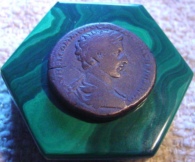 Ancient Roman Bronze Sestertius On Malachite Box