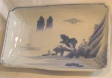 Japanese Blue and White Dish With Landscape