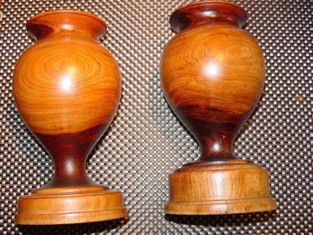 Pair Regency Lignum Vitae Urns
