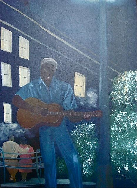 HELEN LAFRANCE PAINTING/MAN UNDER STREETLIGHT PLAYING GUITAR/PICTURED IN NEW FOLK ART BOOK