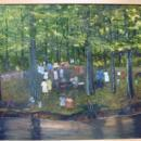 HELEN LAFRANCE PAINTING OF FAMILY REUNION 2 X 3'/IN KATHY MOSES' NEW BOOK ON FOLK ART
