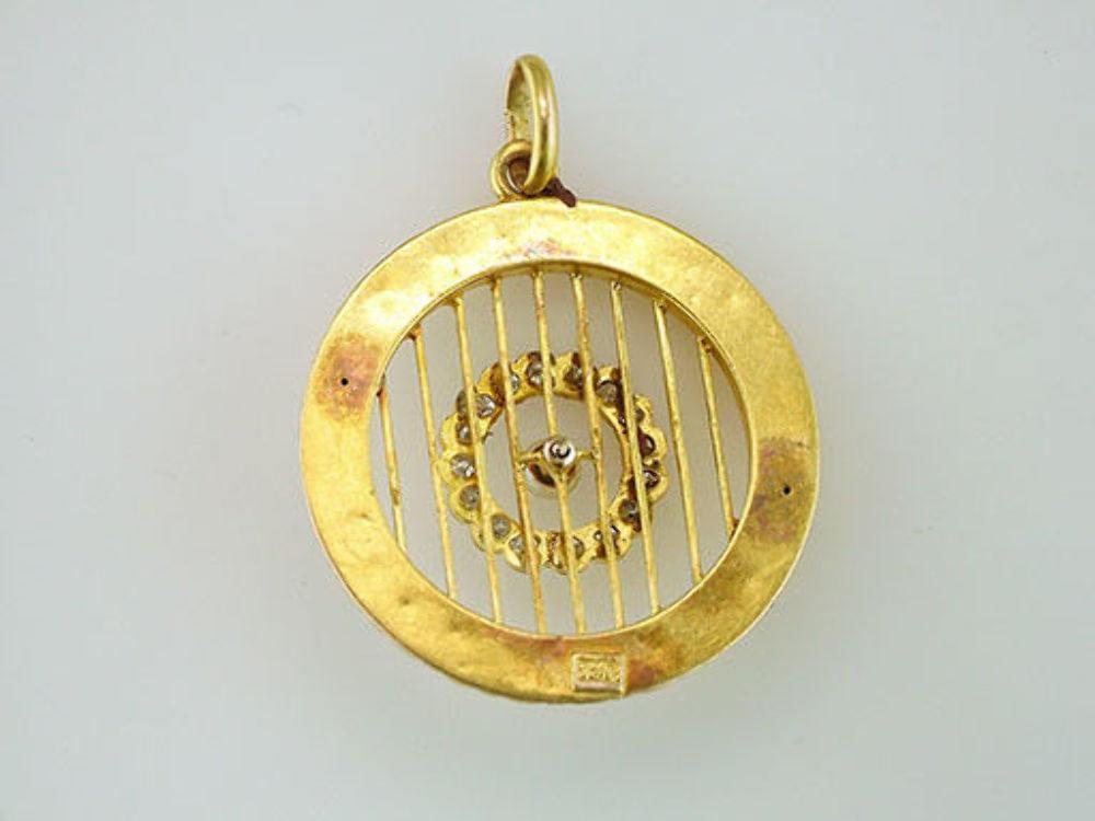 Vintage Antique 1/5ct Diamond & Pearl 18K Yellow Gold Art Deco Filigree Pendant