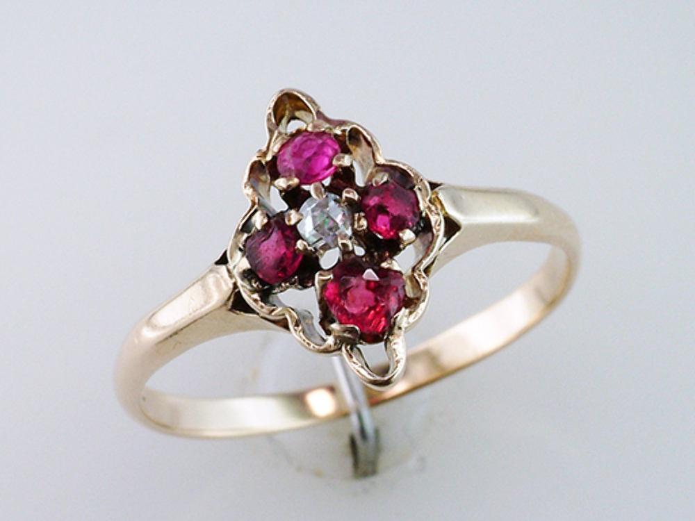 6004fbe272acd Vintage Antique Ruby Diamond 14K Yellow Gold Victorian Engagement Cock