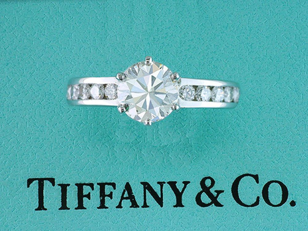 576861f65 Tiffany & Co. Diamond Channel Set Engagement Ring GIA Certified 1.34ct XXX  H-IF