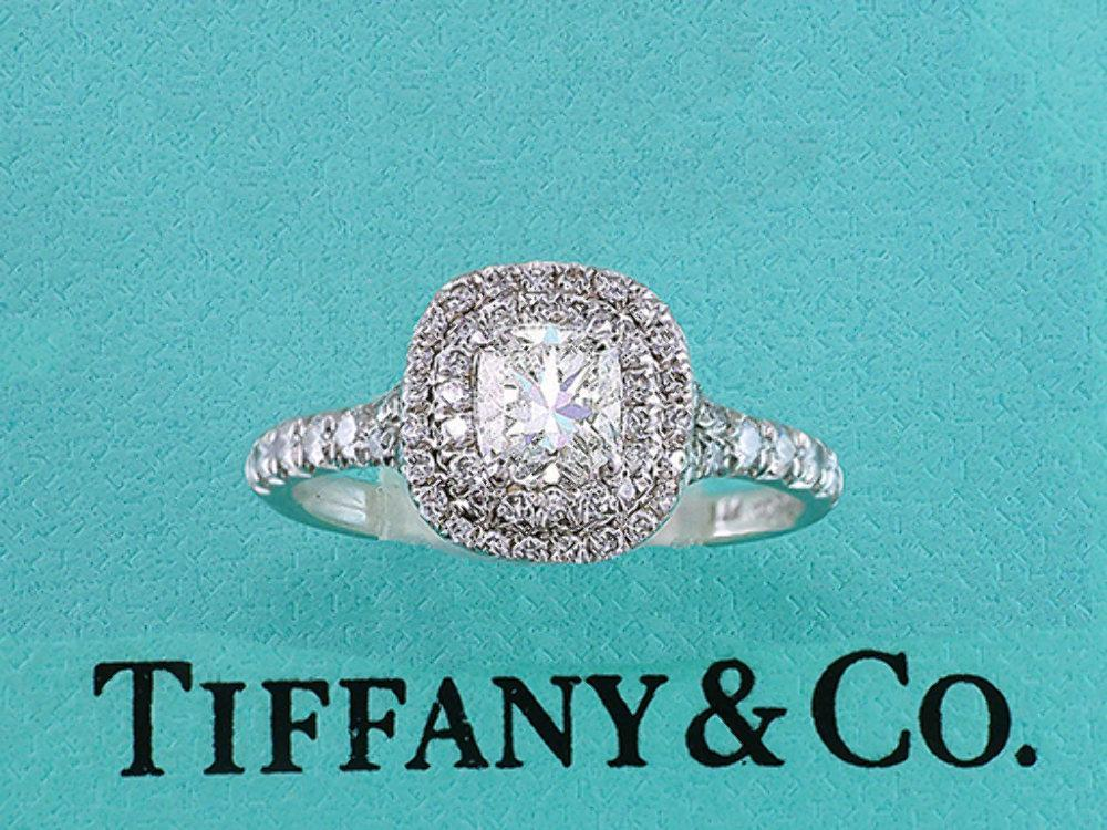 Tiffany Co Engagement Ring Soleste Platinum Cushion Cut 84ct I Vs1