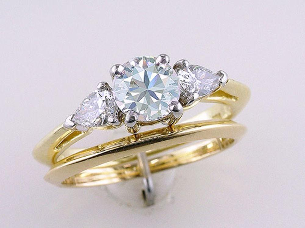 1c06f8102 Tiffany & Co Three Stone Engagement Ring Round and Pear Diamonds Platinum  .96ct