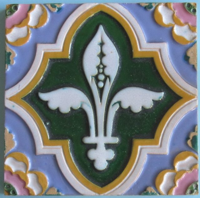 Antique Enameled English Majolica Tile