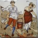 Antique American - Wheeling- Nursery Rhyme Picture Tile