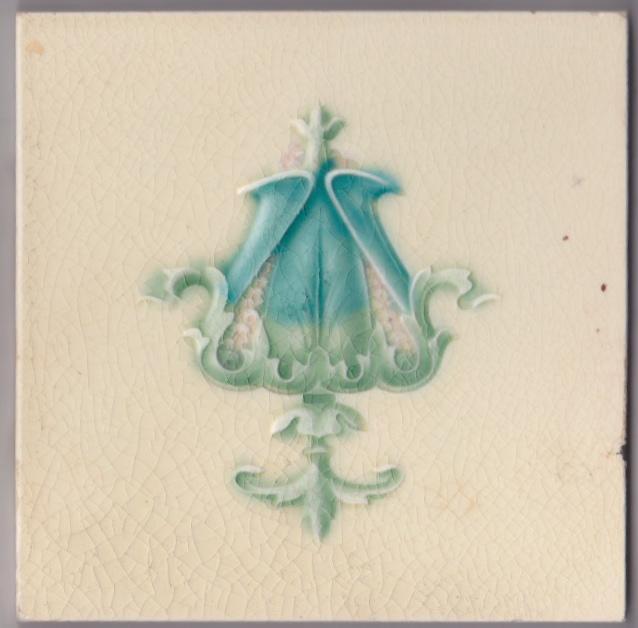 ANTIQUE BOOTE ART NOUVEAU MAJOLICA TILE C1900