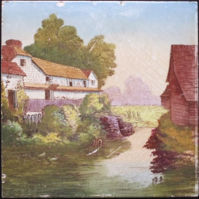 Handpainted English Picture Tile