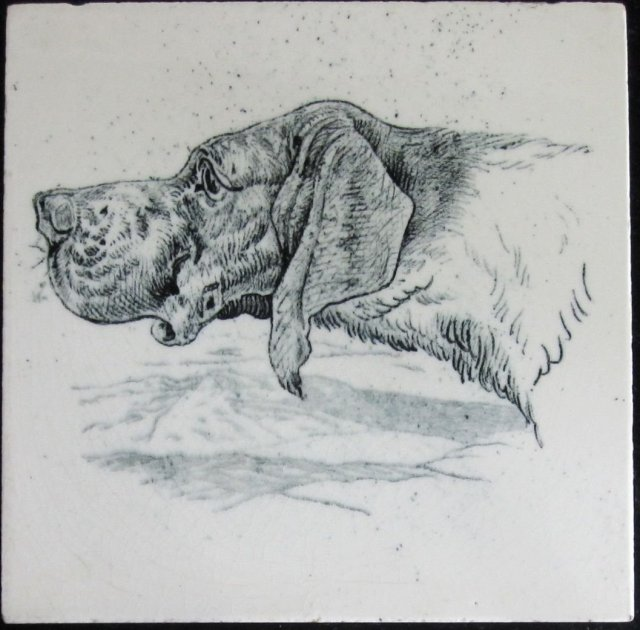 Wedgwood Dogs' Heads Series Antique Tile