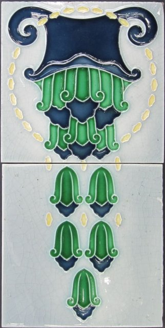 Antique German Art Nouveau 2-Tile Panel