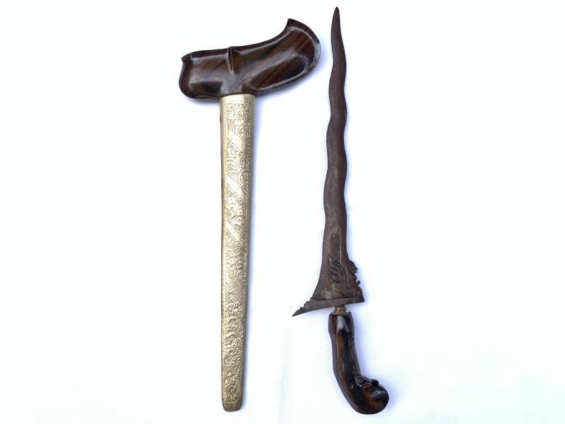 JAVANESE KERIS: HUMAN BIRD 9 Luk Blade Knife Weapon Sword Kris Kriss Dagger Asia