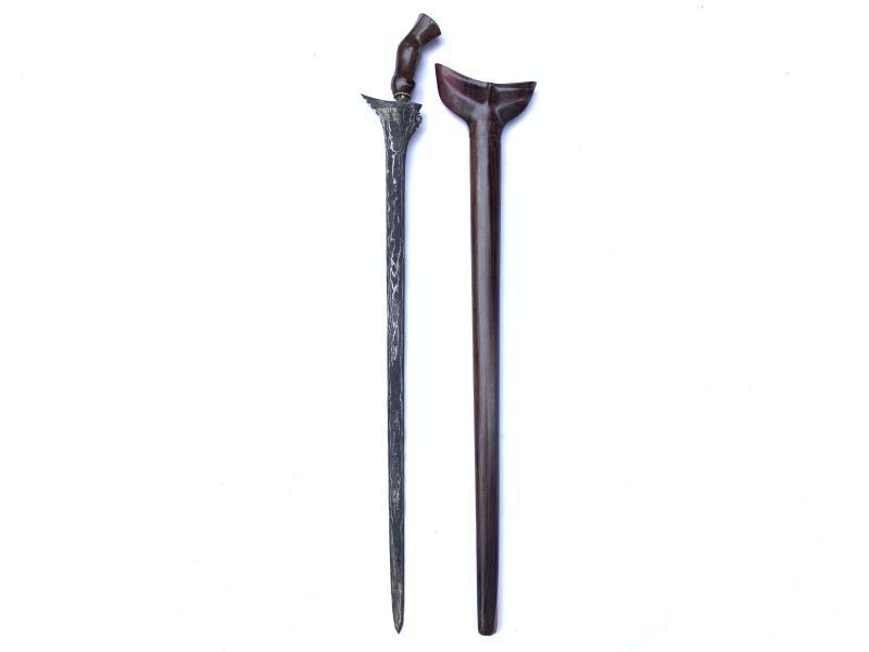 LONG KRIS 740mm STRAIGHT BLADE Keris Knife Dagger Sword Arms Samurai Parang