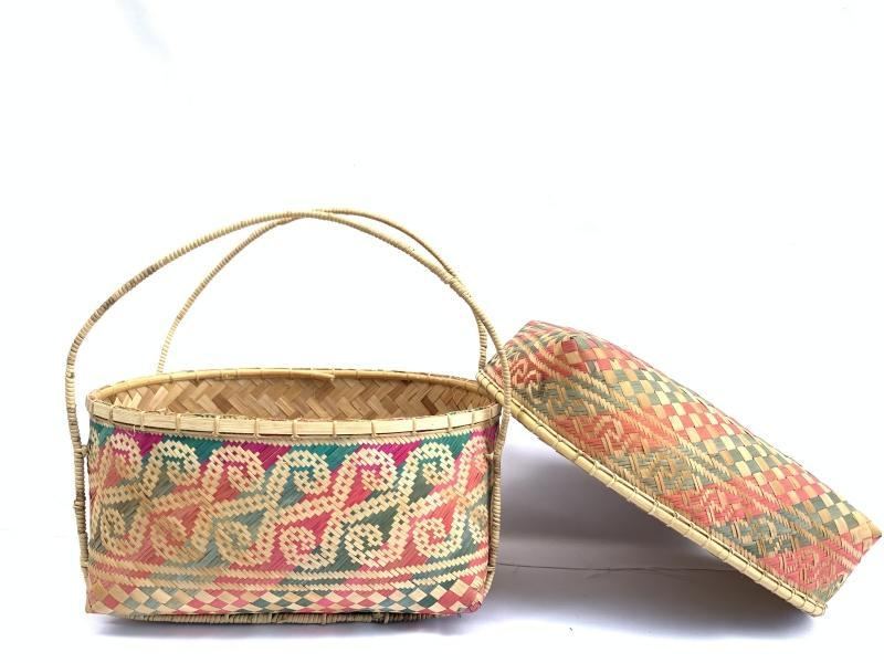 TRADITIONAL DAYAK HANDBAG BAG Weaving Woven Weave From Natural Rattan TREE SKIN