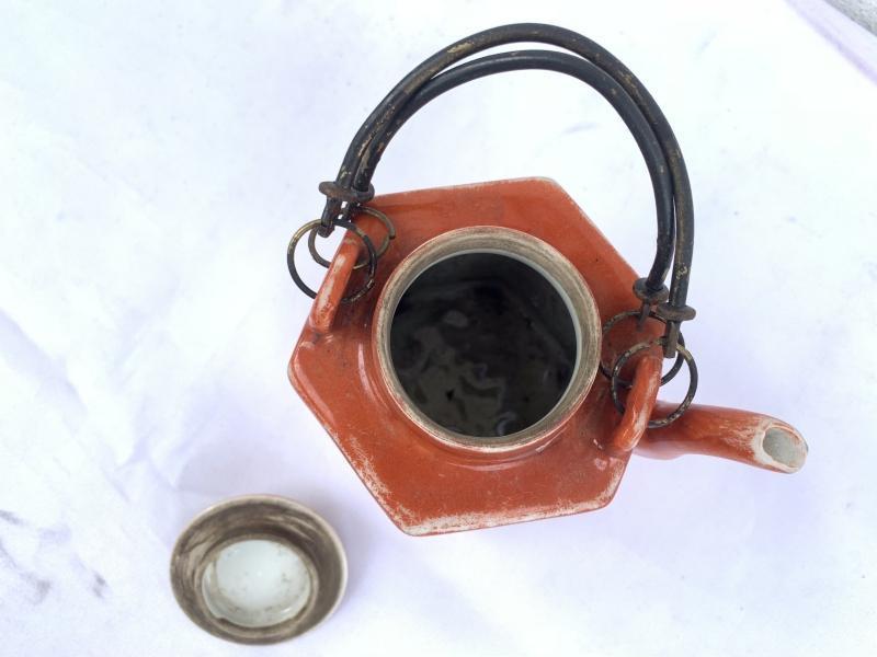 Old TEAPOT 130mm Famille Rose MINI TEA KETTLE Coffee Ceramic Kitchenware Chinese Asia Art Culture