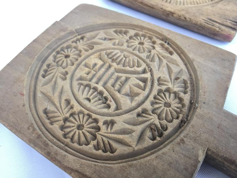 TRADITIONAL CAKE MOLD Old Biscuit Maker Asia Asian Food Cast Frame Stamp Baking Tray #10