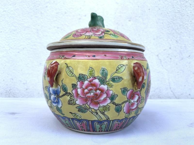 SMALL 140mm baba nyonya history KAMCHENG PROSPERITY PHOENIX Covered Jar Porcelain Chinese Pot Peranakan