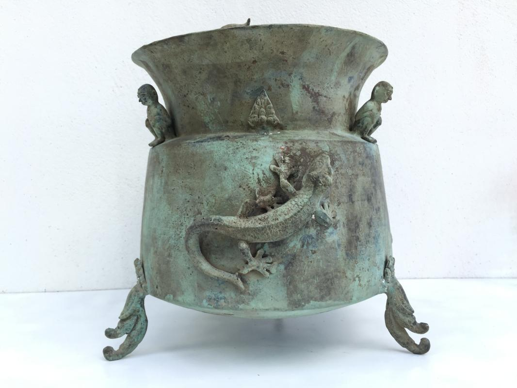 #3 GIANT BRASS BASIN Underwater Discovery Indonesia Crocodile & Ancestral Figure