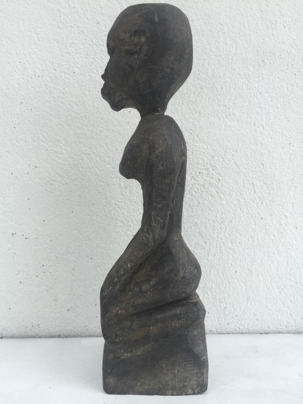 WOOD ARTIFACT 310mm DAYAK STATUE Antique Authentic Aged Sculpture Wooden Art