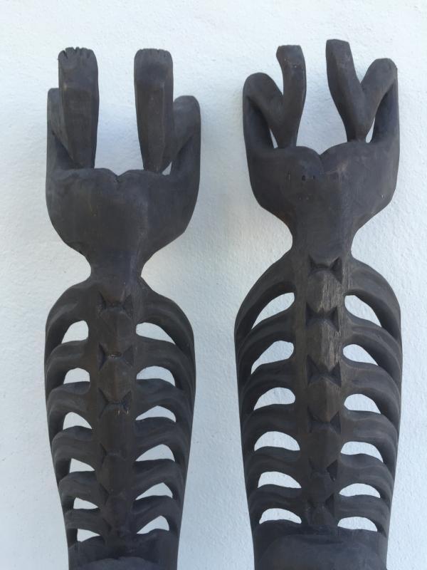 TWO LETI STATUE Wooden Sculpture Figure Icon Image Skull Skeleton Interior Home