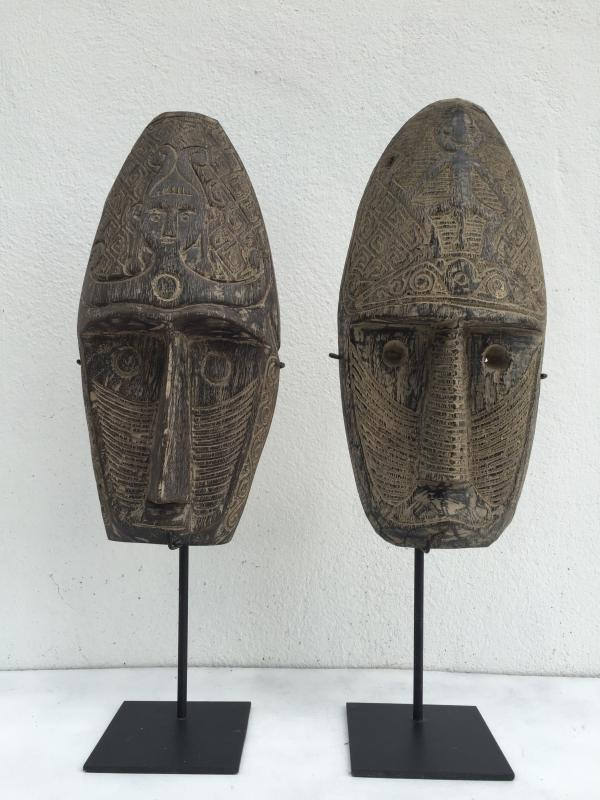 TWO TRIBAL MASK 20.9