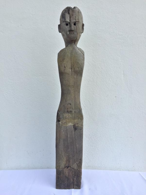 IRONWOOD DAYAK 830mm STATUE POLE Patung Dyak Figure AUTHENTIC AGED SCULPTURE