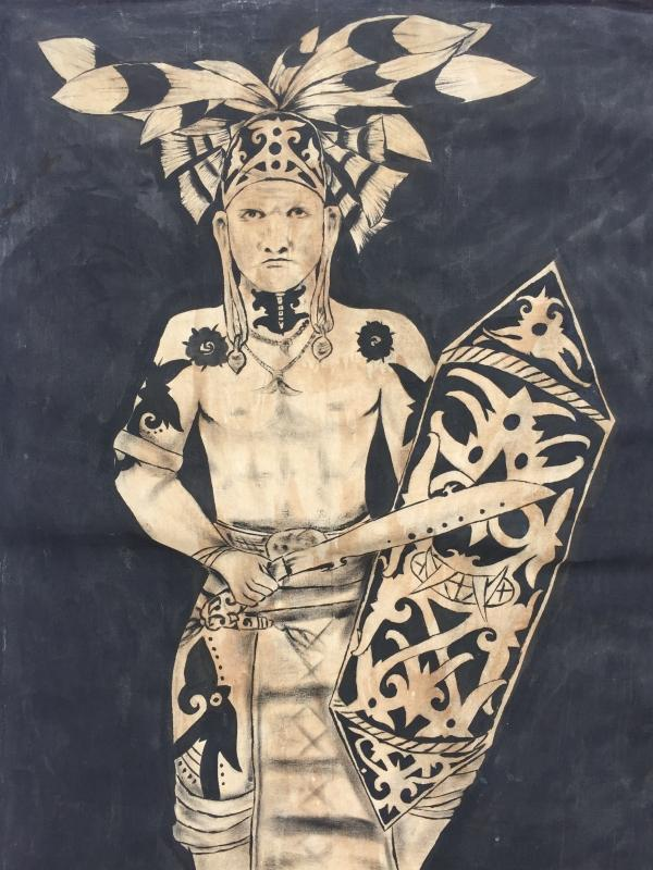 #1 OIL PAINTING: DAYAK HUNTER FIGURE Sculpture Drawing On Canvas Borneo Native