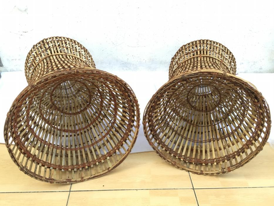 TRADITIONAL FISH TRAP 770mm (One Pair) Bubu Lantai Rattan Lure Bait Trap Outdoor Fishing
