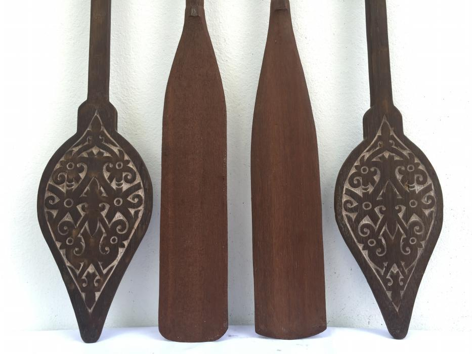 FOUR FANTASTIC Tribal PADDLE Regatta Kayak Water Sport Carved Wood Native Artwork