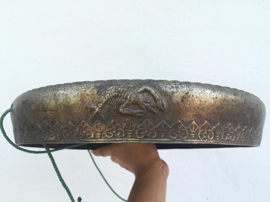 NAGA GONG 340mm WATERY Creatures Antique Brass Drum Wealth Heirloom Feng Shui
