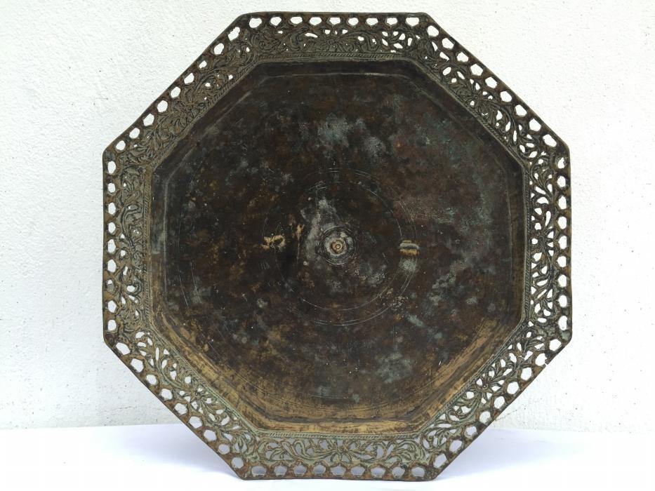 OCTAGONAL 430mm BRASS TRAY Antique Wedding Heirloom Food Dish Plate Exquisite Wealth Display