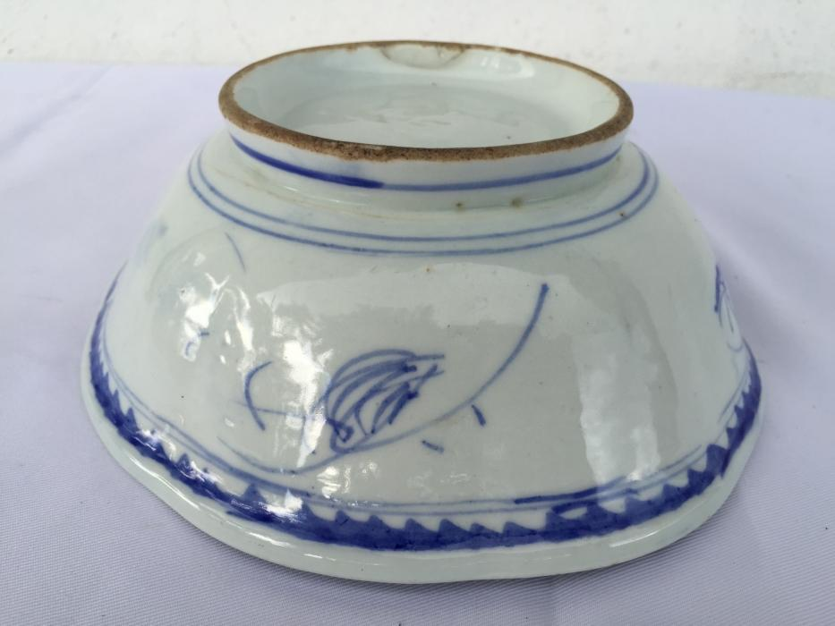 BLUE WHITE 190mm BOWL Rice Noodle Old Plate Tray Chinese Porcelain Dining Borneo